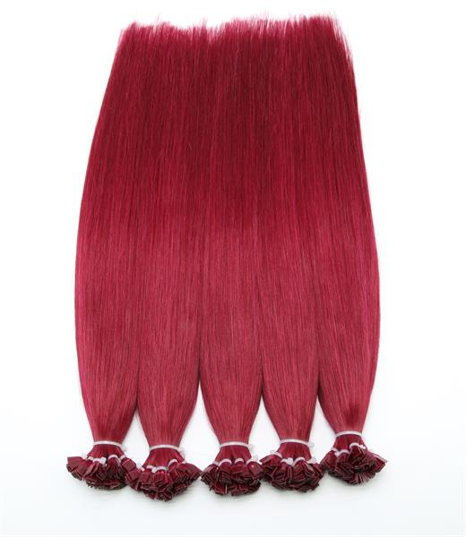 #Burg-Red Flat Tip Hair Extensions