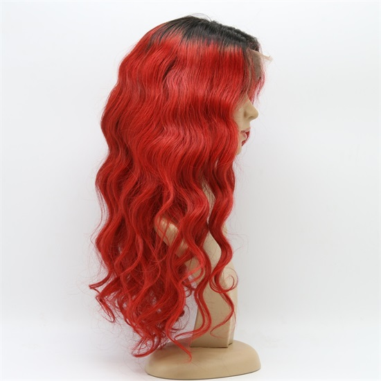 Indian Hair  Lace Front Wigs  1B/Red Thick End