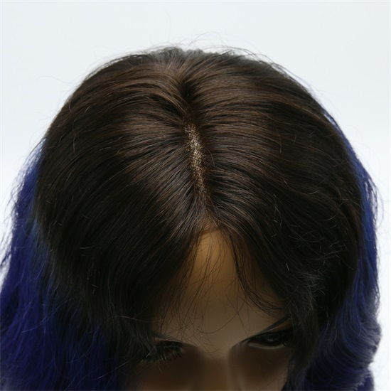 Indian Hair  Lace Front Wigs  1B/Blue Thick End