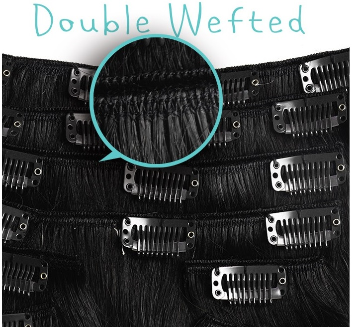 Double Wefted Clip Hair Extensions